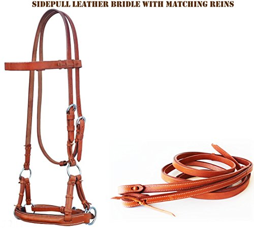 PRORIDER Horse Western TACK TAN Leather BITLESS SIDEPULL Bridle W/REINS 7703TN