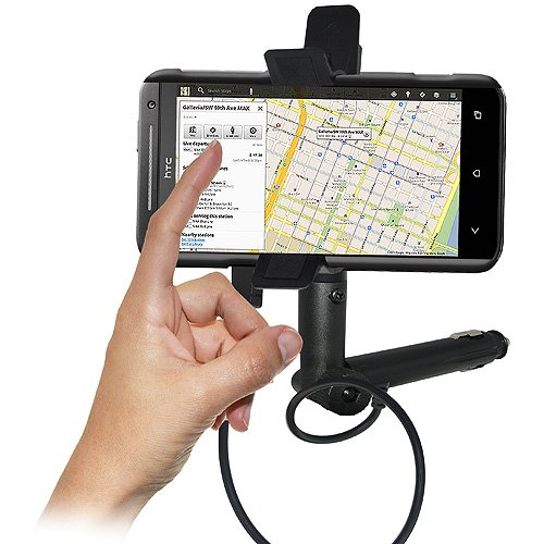 Black Retail Packaging Amzer AMZ94186 Lighter Socket Phone Mount with Charging and Case System for HTC EVO 4G LTE Mount Sprint HTC EVO 4G LTE
