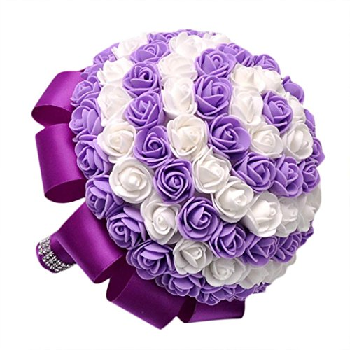 - Womail 1 Pcs Bride Artificial Flowers Silk Bouquet Wedding,Room,Home,Hotel,Party Decoration And Holiday Gift (Purple)