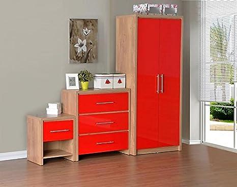 Camera Da Letto Legno Chiaro : Set camera da letto in legno di rovere chiaro e rosso lucido