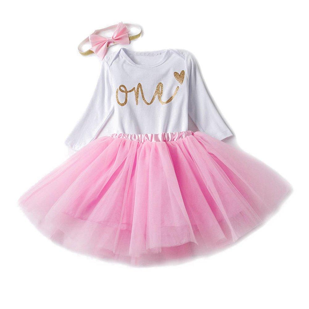 Prinzessin Kleid Baby Neugeborenes Mädchen 1./2./3 Geburtstag Kleidung Set 3 Stück Romper + Rock Tütü + Stirnband Geschenk Verkleidung Lila/0-6Monate hibote Network technology Ltd