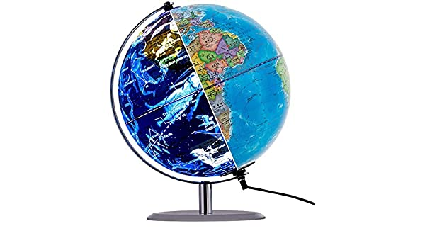 Nfudishpu Iluminado Spinning World Globe, 3 en 1 Desktop Educativo ...