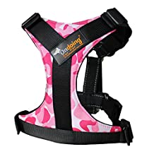 Dog Harness Puppy No Pull Harness Easy Walk Harness Adjustable and Durable for Medium Dogs, Large, Camo Pink