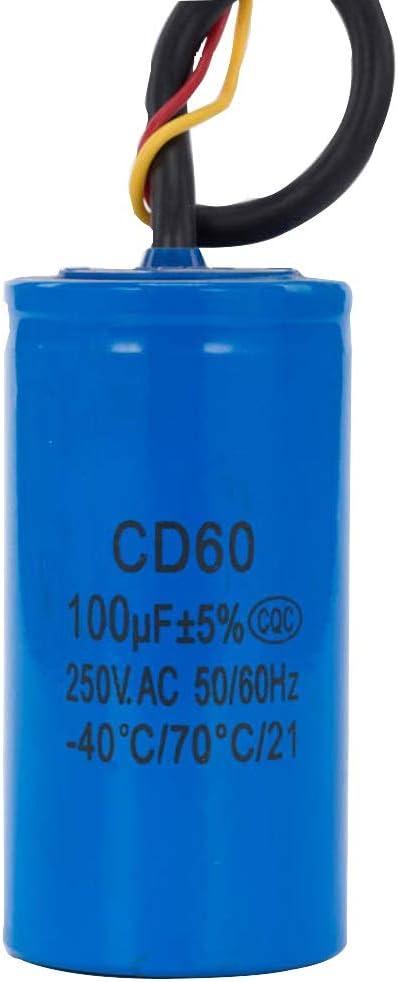 F-Jiujin-condensateur Condensateur de d/émarrage CA60 100UF 250V for Le Jaune Rouge Deux Fils r/ésistants de compresseur dair de Moteur /électrique