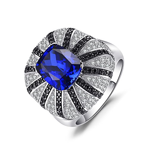 Jewelrypalace Luxury 3.9ct Created Blue Sapphire Natural Black Spinel Cocktail Ring Solid 925 Silver Ring Size 7
