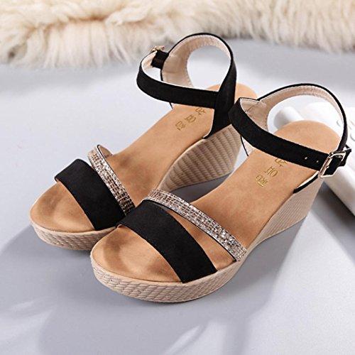 o Sandalias Fiesta Plataforma QinMM Playa de Zapatos Negro Verano Ba Mujer Vestir de Chanclas para 8FSwx8gU