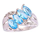 Psiroy 925 Sterling Silver Grace Womens Band Charms Gorgeous 5mm*3mm Marquise Cut Blue topaz CZ Filled Ring