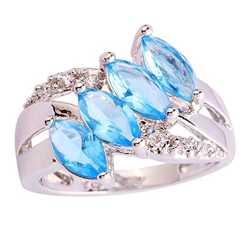 [Psiroy Women's 925 Sterling Silver 1cttw Blue Topaz Filled Ring] (Solid Sterling Silver Square Braid)