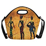 InterestPrint Vintage African Woman Lady Large Reusable Insulated Neoprene Lunch Tote Bag Cooler 15.04'' x 14.21'' x 6.69'', Retro Ethnic Africa Fashion Portable Lunchbox Handbag with Shoulder Strap