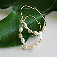 Gold Vermeil Cultured White Freshwater Pearl Hoop Earrings Anniversary Gift for her Wedding Jewelry