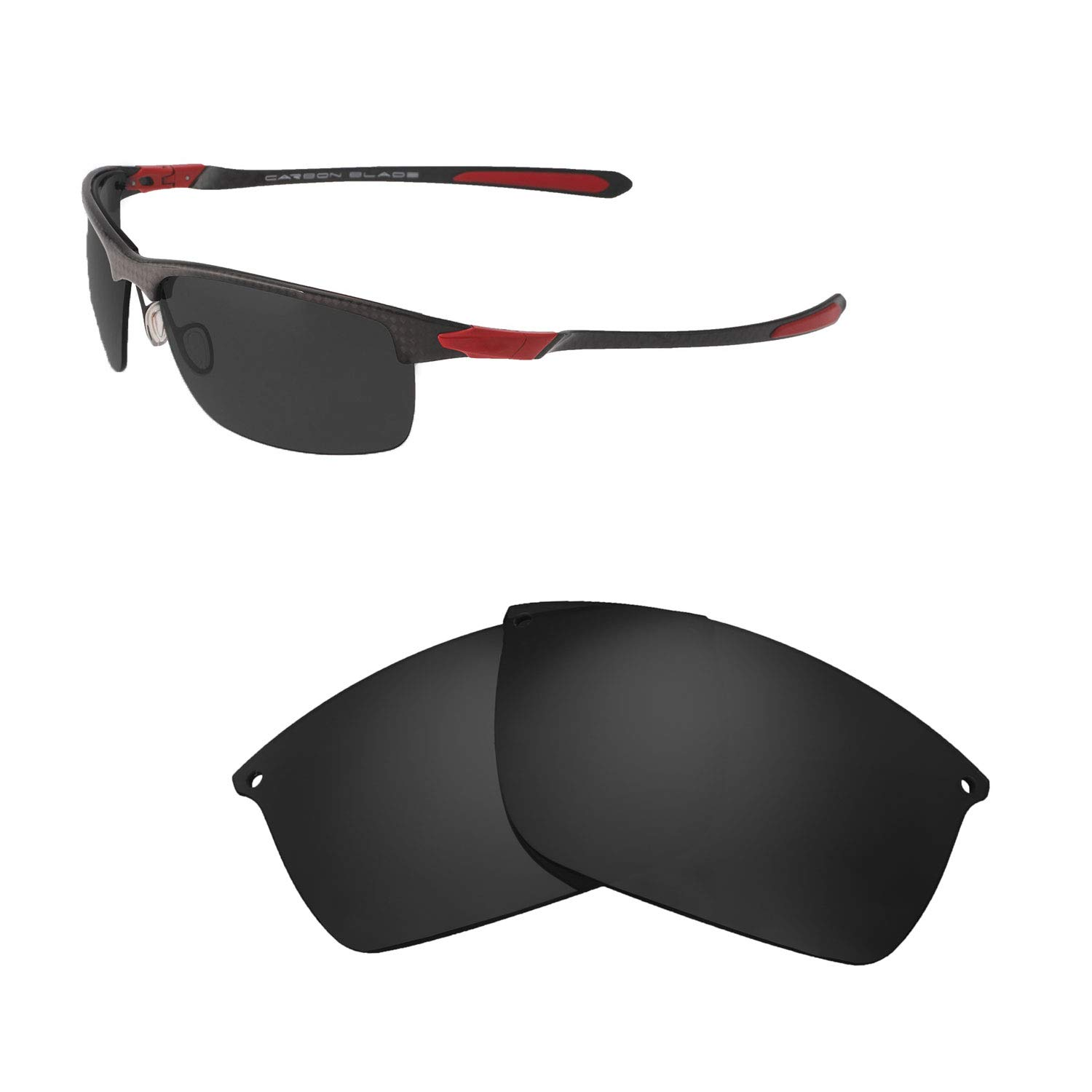 ef10fe6a74a Amazon.com  Walleva Replacement Lenses for Oakley Carbon Blade Sunglasses -  Multiple Options Available (Black - Polarized)  Sports   Outdoors