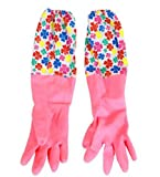 Advanced Thermal Thickening Extended Rubber Gloves Cleaning Gloves PINK