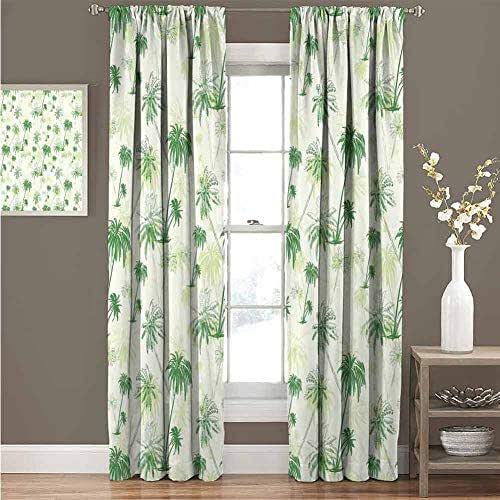 KAKKSW Window Curtain, with Beautiful Patterns, Hawaii, Sketch Palm Tree North Pacific Ocean Foliage Abstract Monochrome Design, 120