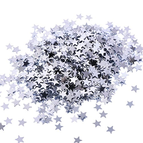 eBoot Star Confetti Star Table Confetti Metallic Foil Stars Sequin for Party Wedding Decorations, 30 Grams/ 1 ounce (Silver) (Silver Metallic Stars)