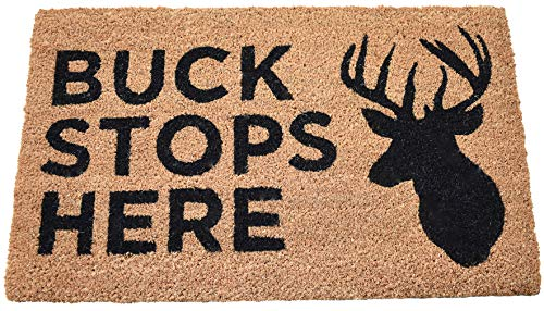 Avera Products Buck Stops Here Deer Welcome Door Mat, All Natural Coir Fiber with PVC Backing ()