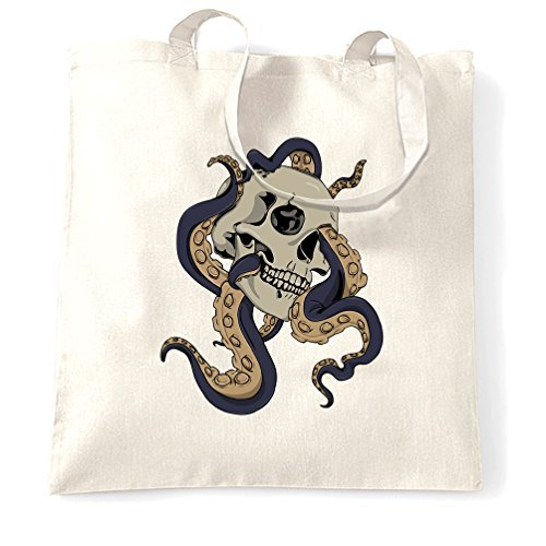 Canvas Tote Shopping Bag Skull And Octopus Rock Metal Heavy Alternative Goth Hand Drawn Illustration Graphic Digital Art Print Design Logo Science Emo Awesome Bad Reusable Handbag for Women