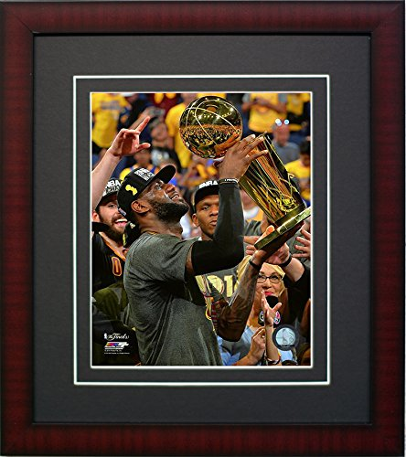 Cavaliers Wall Framed (Cleveland Cavaliers LeBron James With The Championship Trohpy. Framed 8x10 Photo Picture From the 2016 NBA Finals)