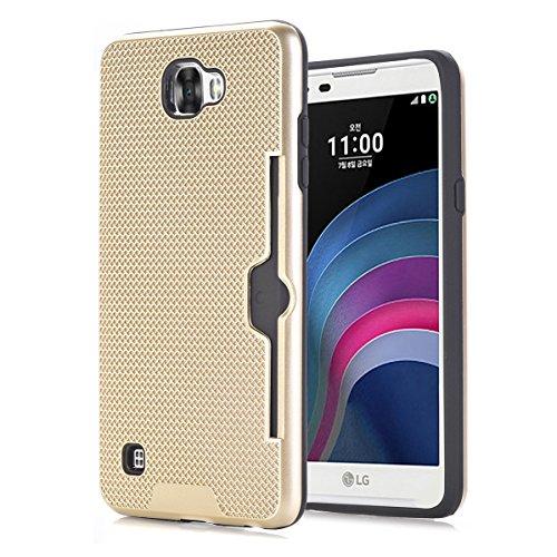 LG X5 Funda Case, TOTOOSE Patrón de tela Escocesa Caja del teléfono Celular Antideslizante Protector Shell con Ranuras para Tarjetas para LG X5 Dorado Dorado