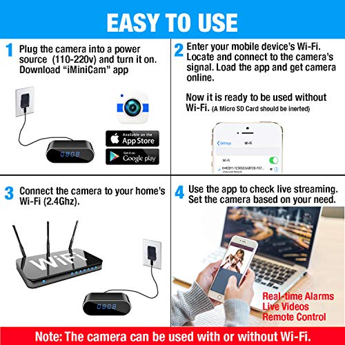 Amazon com : WEMLB HD 1080P WiFi Hidden Camera Alarm Clock
