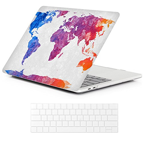MacBook Pro 13 Case 2018 2017 2016 Release A1989/A1706/A1708, iCasso Hard Case Shell Cover and Keyboard Cover for Apple New MacBook Pro 13 Inch Retina with/Without Touch Bar and Touch ID -World Map