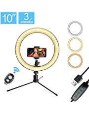 """$38 » LED 10.2"""" Desktop Selfie Ring Light with Tripod Stand & Remote Control &10 Brightness Level & 3 Light Modes and 120 Bulbs 5500k for YouTube Video/Live Stream/Makeup/Photography for iPhone Android"""