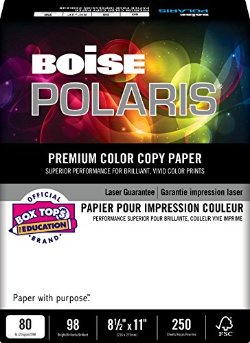 BOISE POLARIS PREMIUM COLOR COPY PAPER COVER, 8 1/2'' x 11'', Letter, 98 Bright White, 80 lb., 1500 Sheets/Carton, 40 Cartons/Pallet