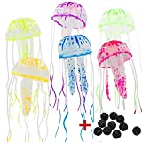 OKDEALS 6-Pack Glowing Effect Artificial Jellyfish Ornament for Fish Tank Aquarium Decoration,WITH 10 FREE Bio Balls