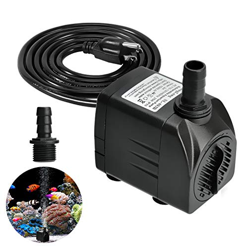 - Easily Life Submersible Water Pump 400GPH, Durable 25W Outdoor Fountain Water Pump with 5.9ft Power Cord and 2 Nozzles Aquarium, Pond, Pools, Fish Tank, Hydroponics, Backyard Waterfall