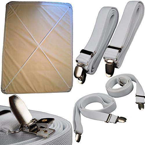 UPC 613894773136, BSLINO 2pcs Long Crisscross Bed Sheet Band Straps Suspenders Grippers Adjustable Bed Sheet Corner Holder Elastic Straps Fasteners Clips Grippers Mattress Cover Sheet Bed Suspenders Clippers HEAVY DUTY