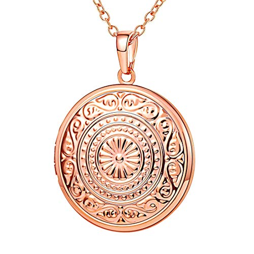 U7 Round Photo Locket Necklace Vintage Design Memorial Gift for Women Grandma Rose Gold Plated Sun Flower Engraved Lockets Pendant