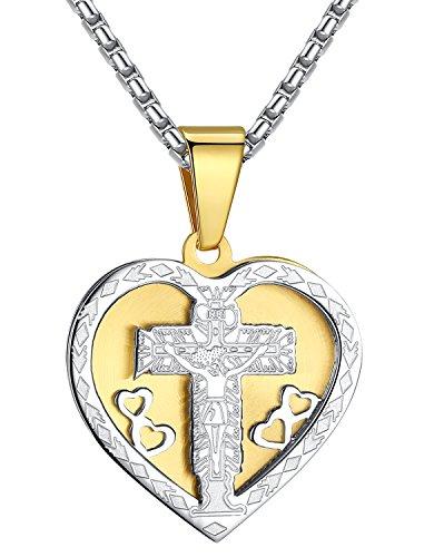 Stainless Steel Jesus Christ Crucifix Cross Heart Medallion 2-Tone Pendant Necklace, 21
