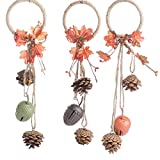 Group of 3 Rustic Pinecone and Acorn Bell Autumn Door Hangers for Arranging, Crafting and Embellishing