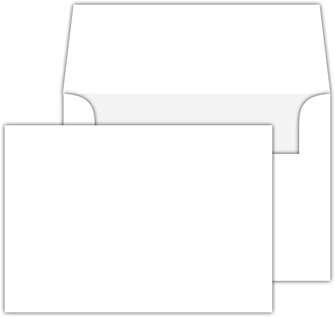 White Blank Folded Note Cards with Envelopes 5 x 7 25 A7 Heavyweight
