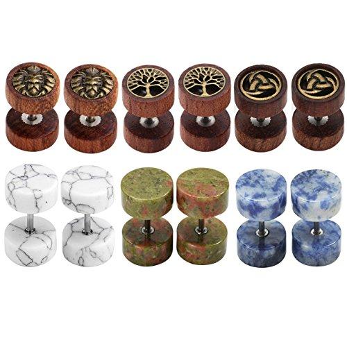 Zysta Women Mens Earring Studs Set Natural Wood Stone Stainless Steel 16G Piercing Fake Ear Gauge Tunnel Plugs Barbell Screw Stud