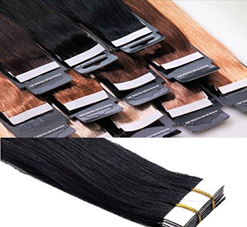 Tape In / On Echthaar Extensions Haarqualität: Virgin Remy - höchste Qualitätsstufe 40 cm 10 Tressen Marke Frohlocke SALON PRO (01 - schwarz)
