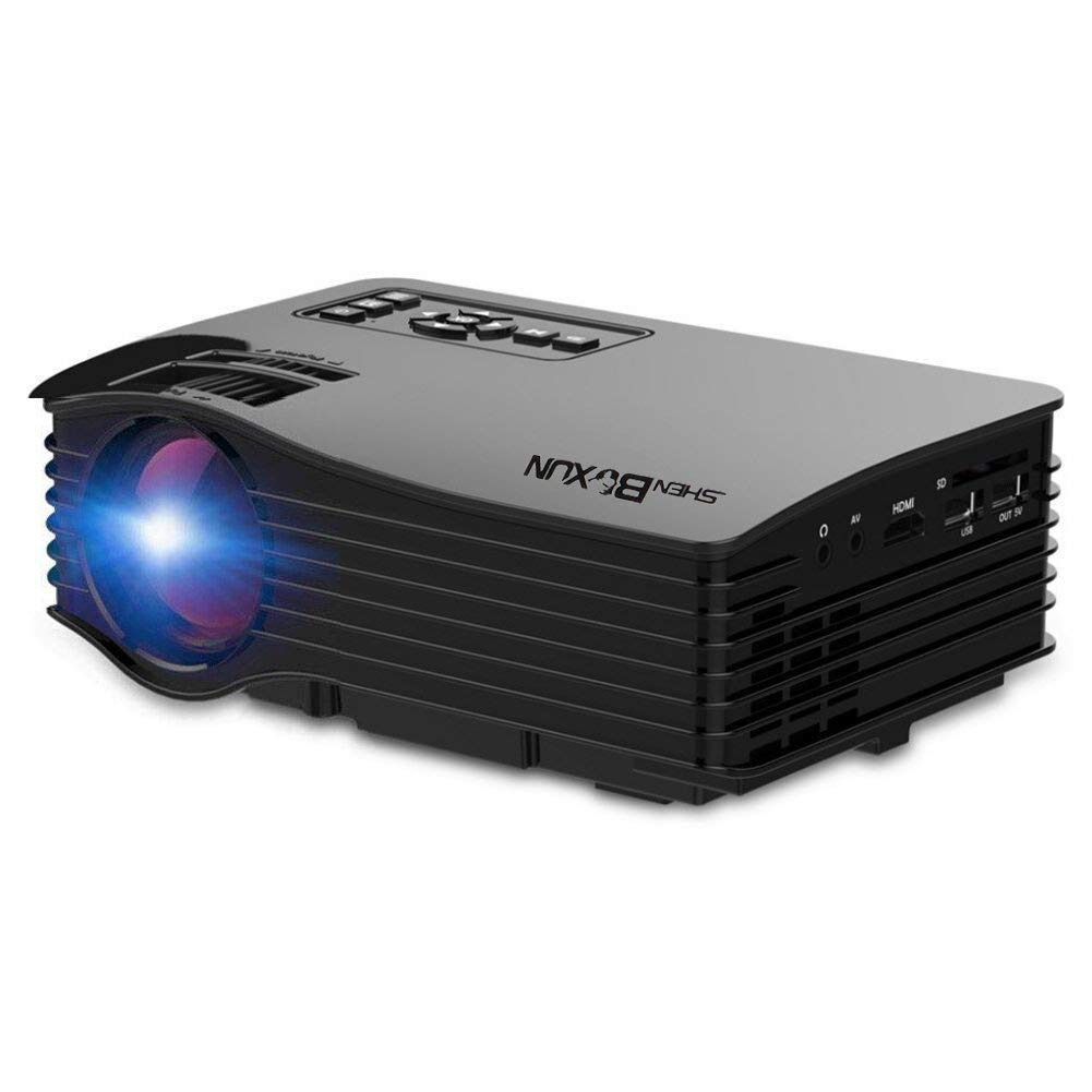 Shenboxun Upgraded Home Theater Mini Projector,LED Multimedia Portable Video Projector for Home Ciname Entertainment,Support Full HD 1080P,with HDMI USB SD AV Ports