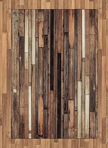 Ambesonne Wooden Area Rug, Brown Old Hardwood Floor Plank Grunge Lodge Garage Loft Natural Rural Graphic Print, Flat Woven Accent Rug for Living Room Bedroom Dining Room, 4 X 5.7 , Brown