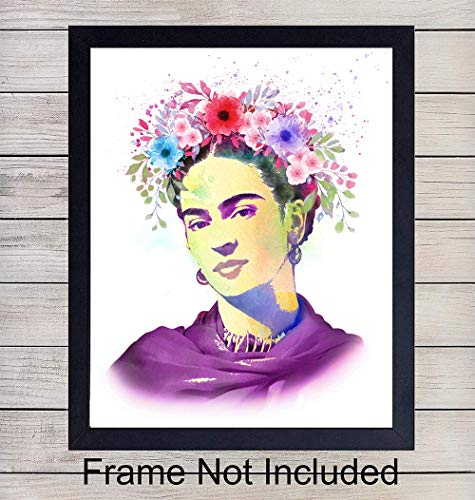 Frida Watercolor Wall Art Print - Unframed Photo - Great Home Decor or Gift For Art Lovers - Ready to Frame (8X10) Vintage Photo