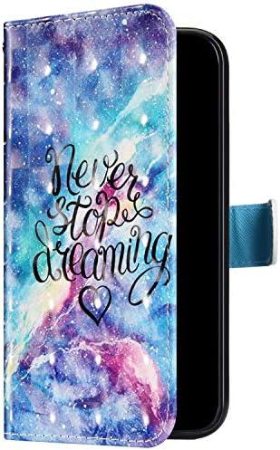 Uposao Kompatibel mit Samsung Galaxy A10S Hülle Leder Handyhülle Glänzend Glitzer Bling Bunt Muster Wallet Hülle Klapphülle Brieftasche Schutzhülle Flip Case Magnet Kartenfach,Sterne