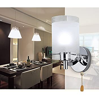 Elitlife Modern Wall Lights Silver Chrome U0026 White Glass 220V Wall Sconce Lighting  Indoor   With