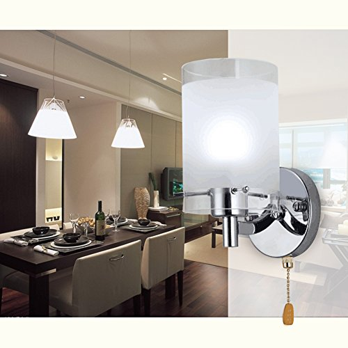 Elitlife Modern Wall Lights Silver Chrome & White Glass 220V Wall Sconce Lighting Indoor - with The Pull Cord Switch & 3W Light Bulb (Cool ()