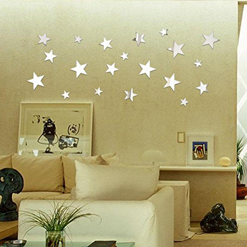 Ussore 20pc DIY Star Art Mirror Wall Sticker Decal For Home living room bedroom kitchen Office - Frames Glasses Adjust Do You How