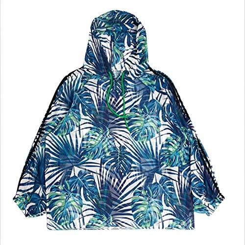 Bleues l'preuve Soleil Floral Shirt Feuilles T avec Motif du Blue 8x67cwqA