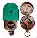 MAH Pocket Sundial Compass, Both Side Work on the Bird with Stamped Leather case. C-3170-1