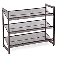 SONGMICS 3-Tier Stackable Metal Shoe Rack Flat Slant Adjustable Shoe Organizer Shelf for Closet Bedroom Entryway