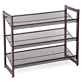 "shoe organizers for closets SONGMICS ULMR03A 3-Tier Stackable Metal Rack Flat & Slant Adjustable Shoe Organizer Shelf for Closet Bedroom Entryway 29.1""x 12.2"" x 24.7"" Bronze"