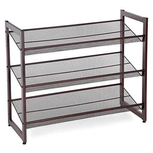 "SONGMICS ULMR03A 3-Tier Stackable Metal Rack Flat & Slant Adjustable Shoe Organizer Shelf for Closet Bedroom Entryway 29.1""x 12.2"" x 24.7"" Bronze"