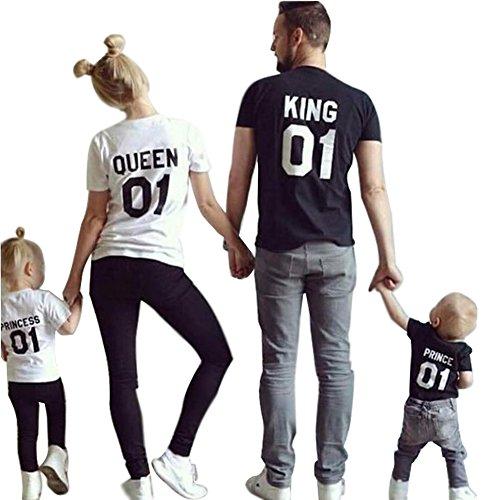 Minetom King Queen 01 Impresión Hombres Mujer Prince Princess Casual Fashion Tops Moda Manga Corta T-Shirt Ropa Familia Camiseta Blanco Princess
