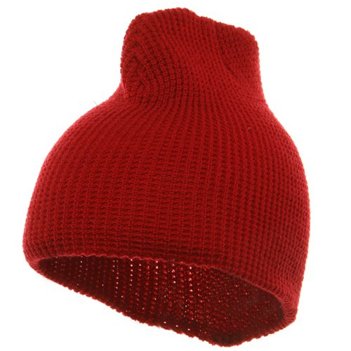 Waffle Short Beanie-Red