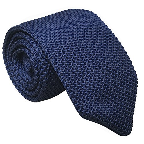 Slim Navy Blue Silk Knitting Tie Solid Pattern Business Necktie for Men or Boys